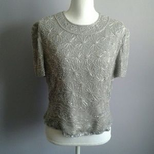 Adrianna Papell Beaded Silk Evening Top